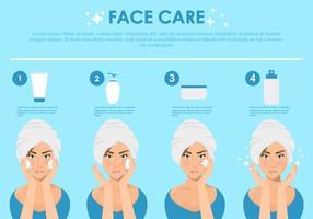Ilustração da etapa do cuidado do rosto vetor