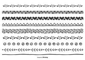 Cute Hand drawn conjunto de fronteira da folha do coração vetor