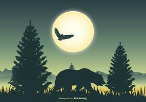 Cena de paisagem com silhueta de urso vetor
