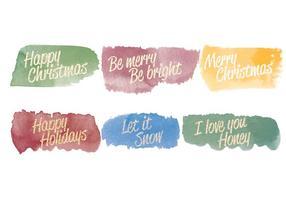 Mensagens de Natal Aquarela Vector