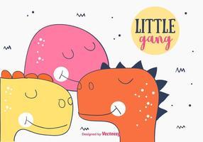 Little Dino gang background vetor
