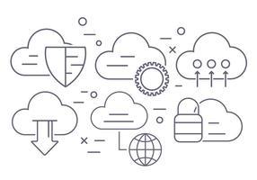Ícones de vetor de computação em nuvem