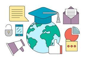 Ícones de Educação Gratuita vetor