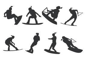 Mulheres Wakeboarding Silhouette vetor