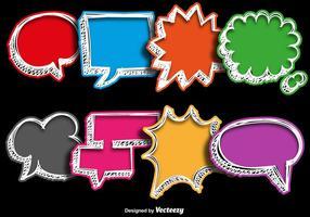 Coleções de vetores de bolas de fala coloridas desenhadas à mão