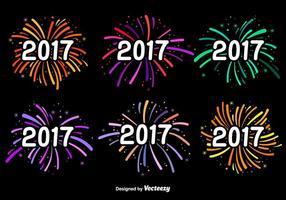Etiquetas do vetor do ano novo 2017