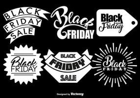 Conjunto de vetores de 6 emblemas da sexta-feira negra
