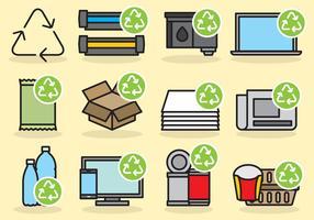 Ícones de reciclagem fofos vetor