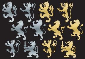 Silhuetas desenfreadas de leão vetor