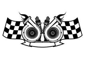 Modelo de logotipo de corrida de turbocompressor vetor