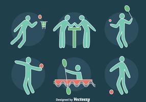Vector desenhado mão dos ícones dos esportes