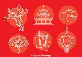 Vetor de ícones de elementos da cultura chinesa