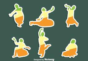 Conjunto de vetores de etiqueta de dança bollywood
