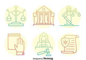 Ícones da linha do elemento justiça vetor