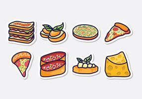 Ícones de comida italiana grátis vetor
