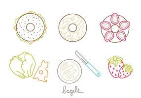 Conjunto de ícones do bagel vetor