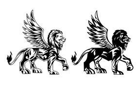 Vetores de leões voados