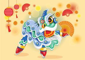Vetor de dança de leão chinesse bonito