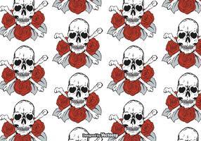 Padrão de vetor de crânios e rosas grátis