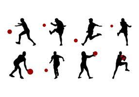 Vetor de silhuetas de kickball grátis