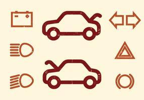 Ícones do vetor do painel do carro
