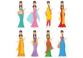 Vetor de ícones da mulher indiana grátis