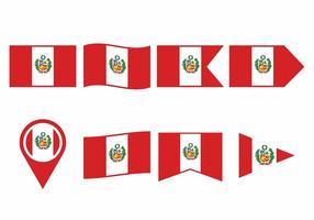 Conjunto de bandeira do Peru vetor