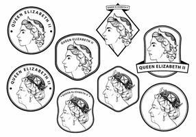 Conjunto de crachá da Rainha Elizabeth vetor