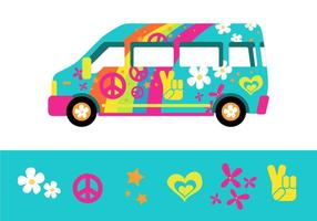 O ônibus psicodélico do arco-íris da cidade de Hippy vetor
