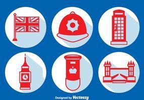 Reino Unido Elemento Long Shadow Icons Vector