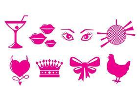 Ícones da festa de galinha vetor