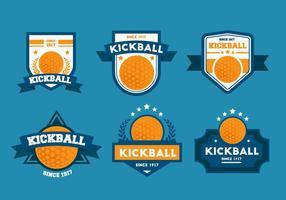 Conjuntos de crachá do vetor Kickball
