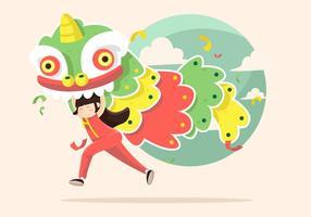Ilustração do vetor da dança do leão