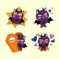 Conjunto de doodle de personagem de gato pequeno drácula animado