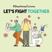 vamos lutar juntos o conceito de pandemia corona covid-19 vetor