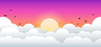 paisagem do nascer e do pôr do sol com desenho de nuvens e pássaros vetor