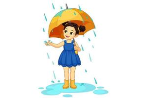 menina bonitinha com guarda-chuva aproveitando a chuva vetor