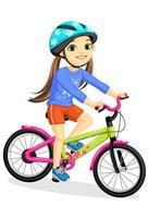 menina feliz com capacete andando de bicicleta