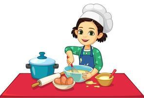 garotinha fofa cozinhando