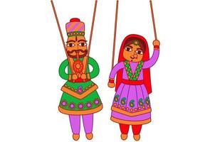 arte indiana fantoche rajasthan vetor