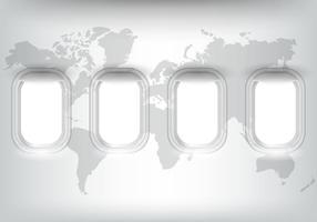 Janela plana com mapa do mundo vetor