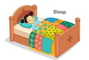 linda garotinha dormindo em uma cama vetor