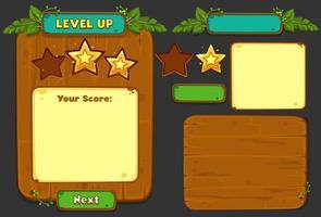 conjunto de elementos de interface do usuário para o tema da selva - parte 4 vetor