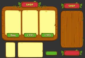 conjunto de elementos de interface do usuário para o tema da selva - parte 3 vetor