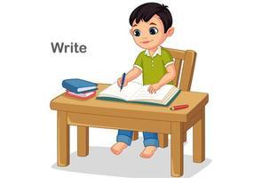 menino escrevendo em um livro vetor