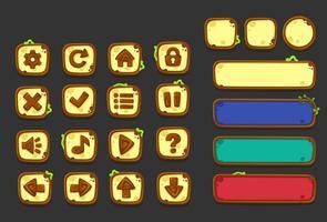 conjunto de elementos de interface do usuário para o tema da selva - parte 1 vetor