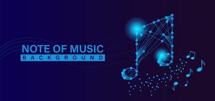 fundo de banner de nota musical com conceito de tecnologia vetor