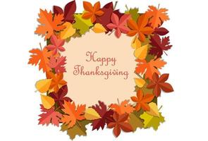 cartão de feliz ação de graças com moldura de folhas de outono vetor