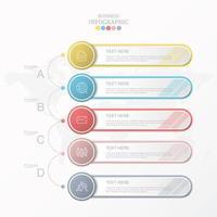 infográfico padrão de negócios com cinco etapas