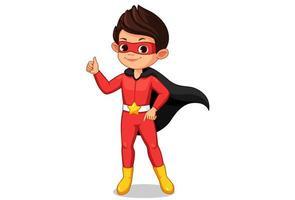 garotinho super-herói mostrando o polegar vetor